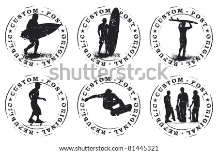 surf and skate grunge stamp - stock vector