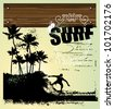 surf background with rider and palms - stock vector