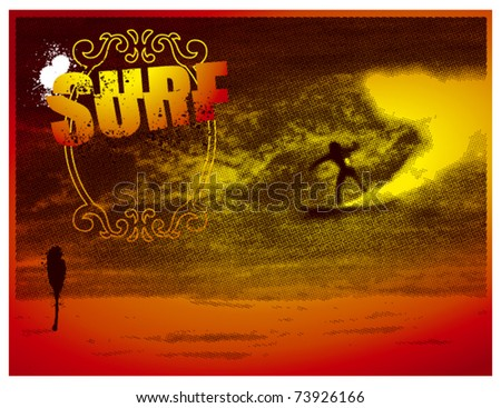 surf banner with sunset colors - stock vector