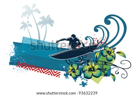 surf banner with surfer flowers and wave - stock vector