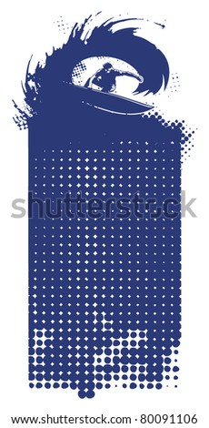 surf banner with surfer in tube - stock vector