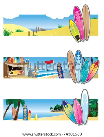 Surf Banners - stock vector