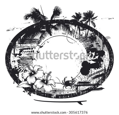 surf black circle with summer elements - stock vector