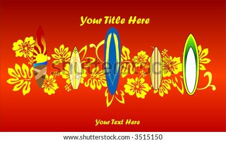 Surf Board Background, Vector Illustration - stock vector