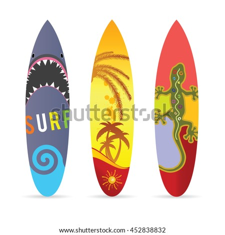 surf board set in various color illustration on white