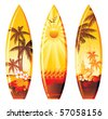 surf boards - stock vector