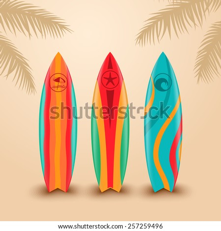 Surf boards with different design - stock vector