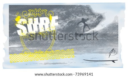 surf celestial banner with rider - stock vector