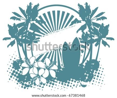 surf celestial shield with summer grunge scene - stock vector
