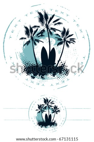 surf circle with wave palm table and copy - stock vector