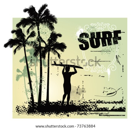 surf coast with surfer and grunge background - stock vector
