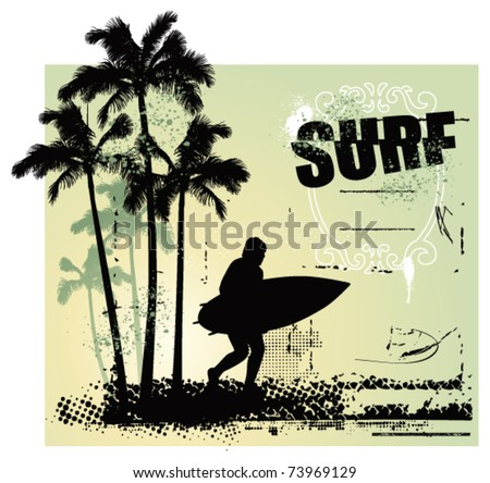 surf coast with surfer running and grunge background - stock vector