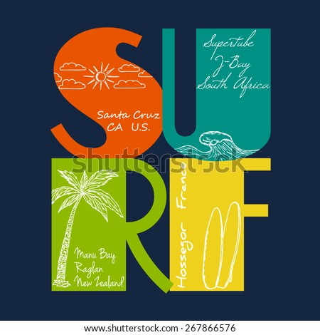 Surf emblem with hand drawn of the sun, wave, palm and surfboards for surfer t-shirt. Vector graphic design - stock vector