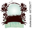 surf empty shield with banner hibiscus and palms - stock vector