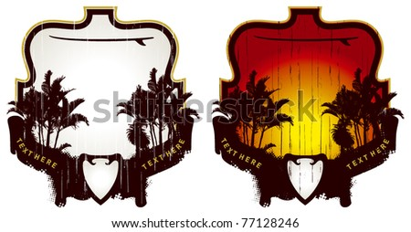 surf frame with palms and shield - stock vector