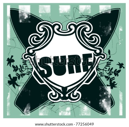 surf frame with shield flowers and table - stock vector