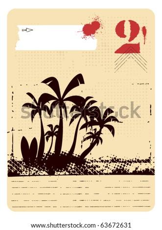 surf frame with summer scene grunge background - stock vector
