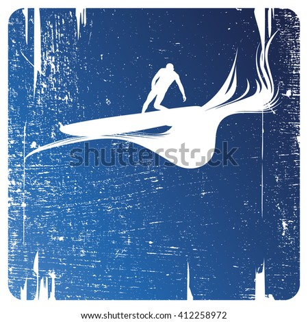 surf frame with surfer - stock vector
