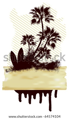 surf grunge dirty scene with palms and table - stock vector