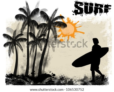 Surf grunge poster background with surfer and palms, vector illustration - stock vector