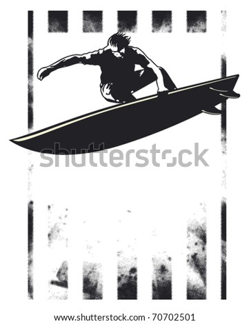 surf grunge poster with acrobatic jump