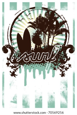 surf grunge poster with summer shield inside - stock vector