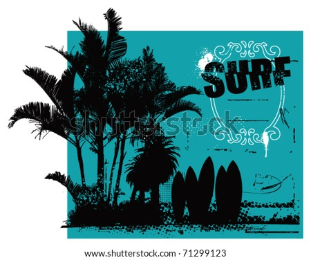 surf grunge scene with shield palms and space to copy - stock vector