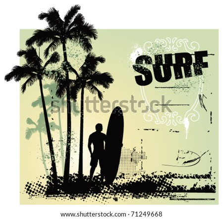 surf grunge scene with surfer and gradient background - stock vector