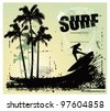 surf grunge scene with surfer jumping and gradient background - stock vector