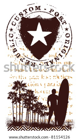surf grunge shield with surfer and summer background - stock vector