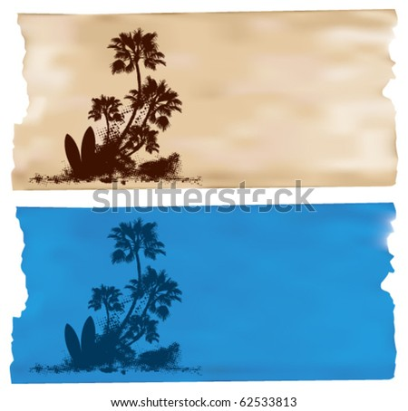 surf horizontal banner with palms and two tables - stock vector
