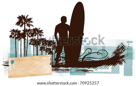 surf horizontal banner with surfer table and waves - stock vector