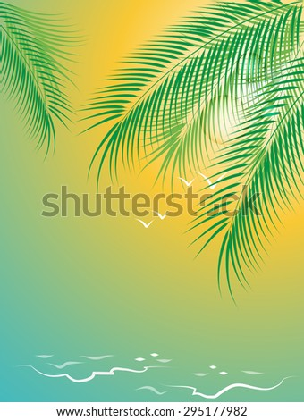 Surf on a sandy beach, seagulls and a branch of palm trees - stock vector