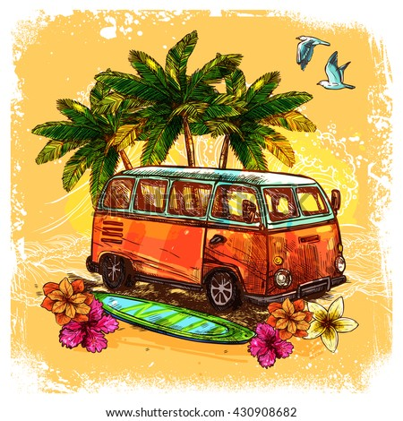 Surf or hippy style vintage old bus with surfboard flowers and palm sketch color concept vector illustration - stock vector