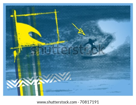 surf poster with halftone surfer background - stock vector