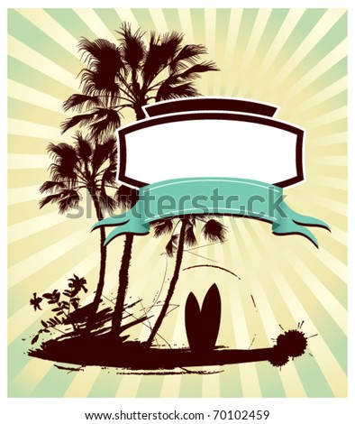 surf poster with shield and grunge summer background - stock vector