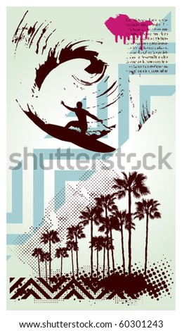 surf poster with surfer in grunge wave - stock vector