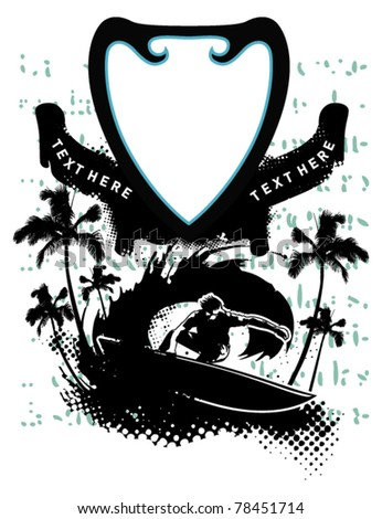 surf poster with surfer shield and palms - stock vector