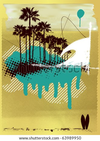 surf poster with wave and palms in grunge background - stock vector