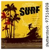 surf poster with wood banner - stock vector