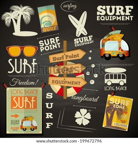 Surf Retro Poster in Chalkboard Design Style. Vector Illustration. - stock vector