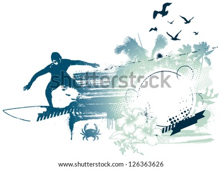 surf rider with beauty grunge summer background - stock vector