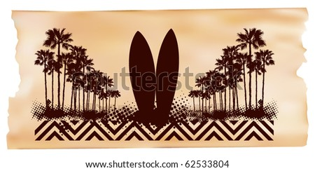 surf scene palms and tables with paper background - stock vector