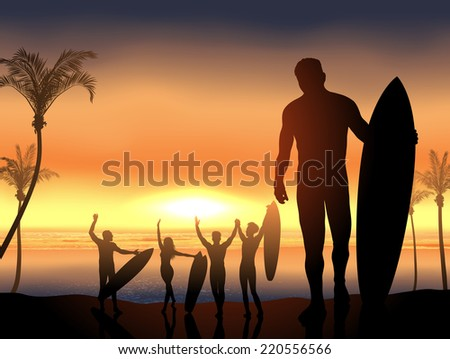 surf scene with beach party - stock vector