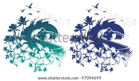 surf scene with rider in tube and hibiscus - stock vector