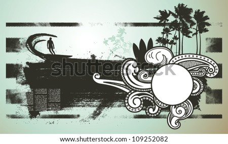 surf scene with space to copy - stock vector
