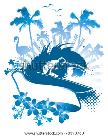 surf scene with surfer hibiscus and palms - stock vector