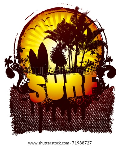 surf shield with banner and sunset - stock vector