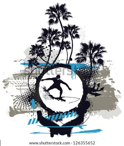 surf shield with grunge spirit - stock vector