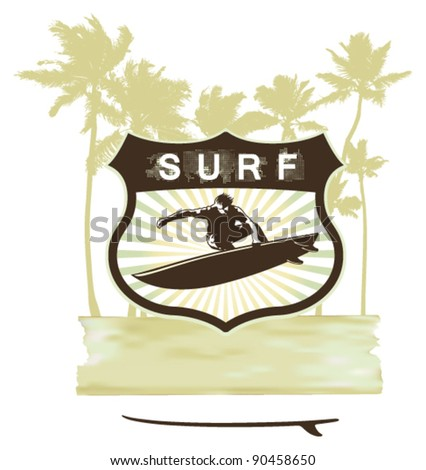surf shield with summer grunge background - stock vector